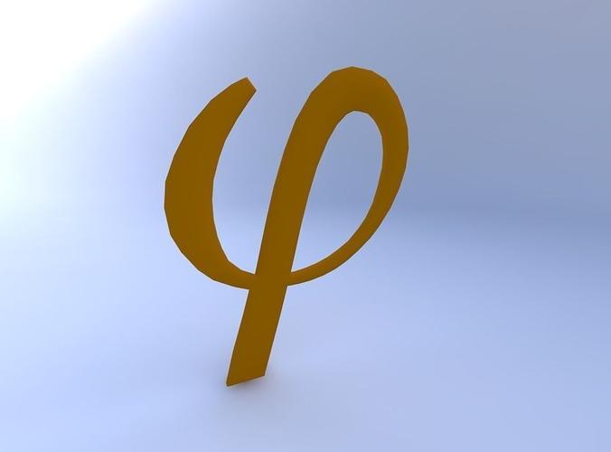 greek letter, phi 3d model obj mtl 1 ...