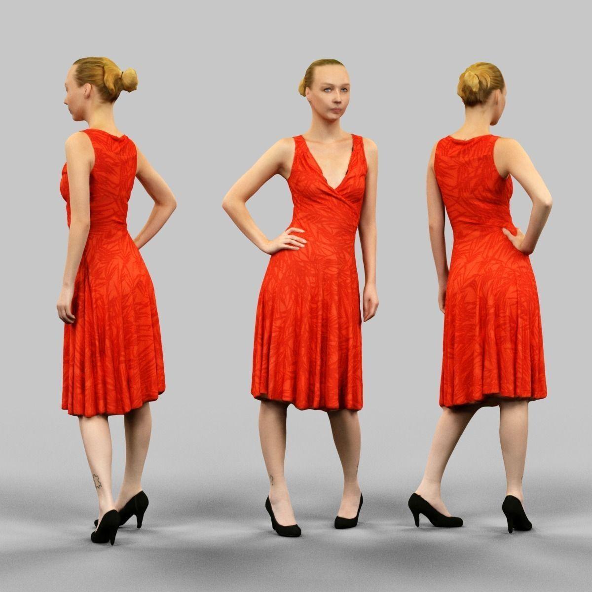Red dress 3d