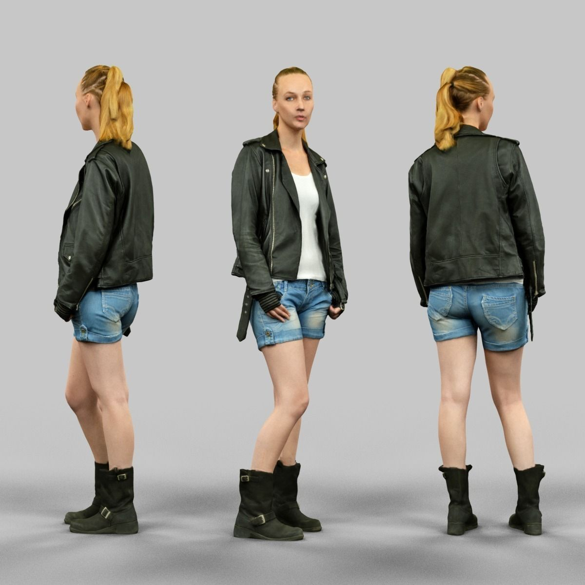 Woman wearing Leather Jacket and shorts