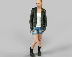 woman wearing leather jacket and shorts 3d model