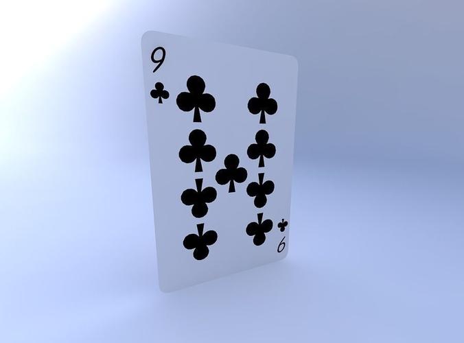 nine of clubs 3d model obj mtl 1