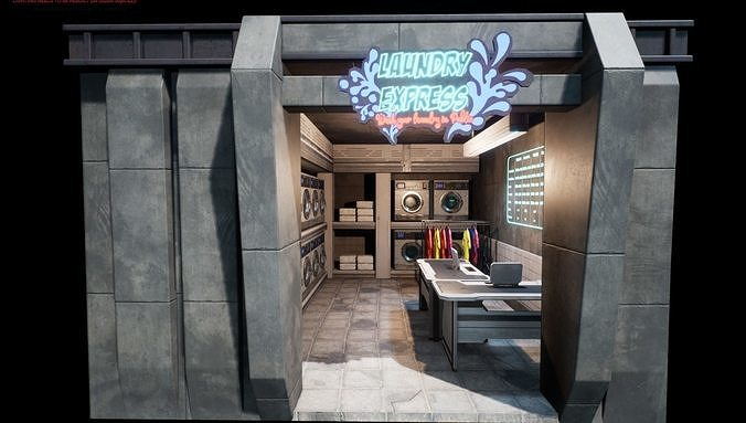 Cyberpunk Laundry Room Props Interior Game-Ready