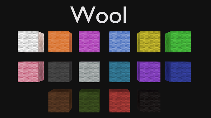 Blender Minecraft Wool Blocks Cycles Only Free 3d Model Blend