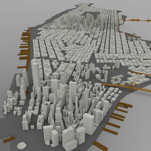 manhattan island cityscape 3d model obj mtl pdf 1
