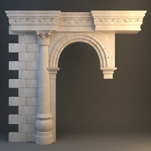 3d stone column arch cgtrader for Exterior 3d model