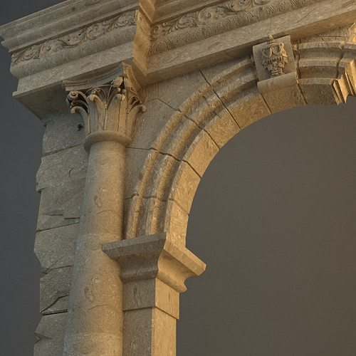 old stone column arch 3d model max obj 3ds 1