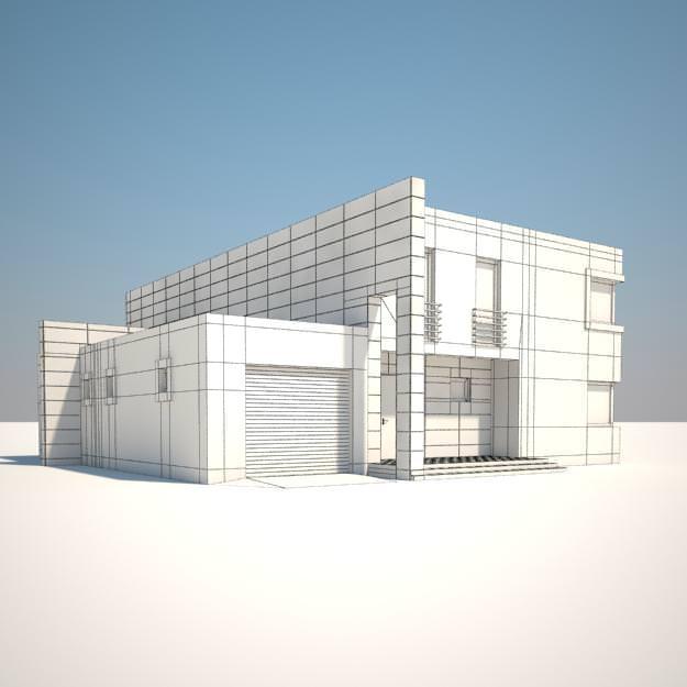 House free 3d model max obj fbx for Exterior 3d model