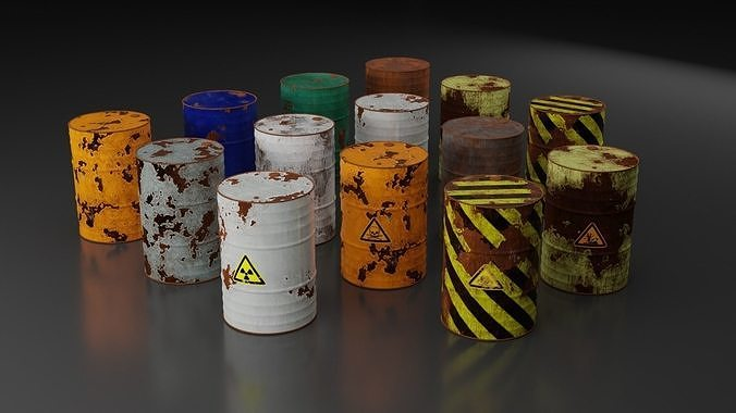 Metal Barrels - Old Rusted - PBR - High Quality