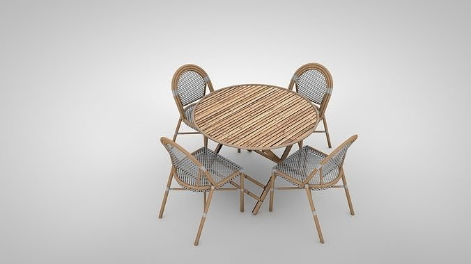 Bamboo Patio Furniture Set 3d Model, Bamboo Patio Furniture Set