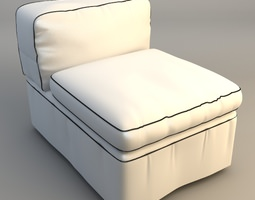 Armless Upholstered Chair 3D model