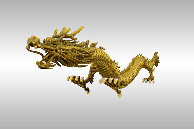 chinese gold dragon 3d model rigged max obj 3ds fbx stl mtl 1