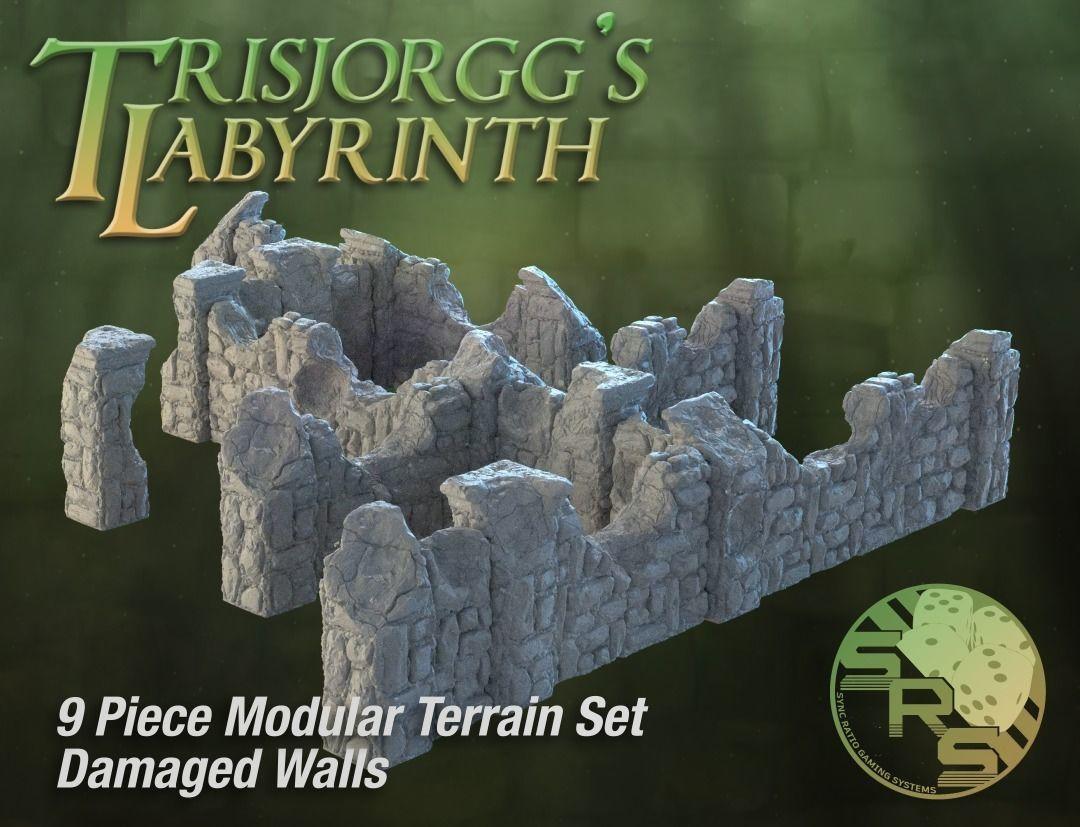 Damaged Stone Walls Modular Terrain Set