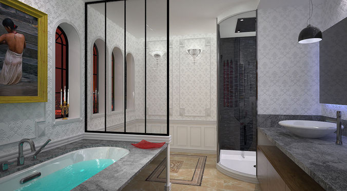 Bathroom 3d Model shower 3d model bathroom | cgtrader