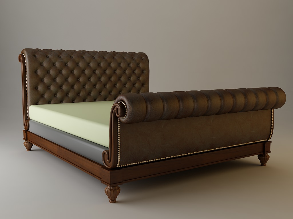 Sleigh Bed Detailed