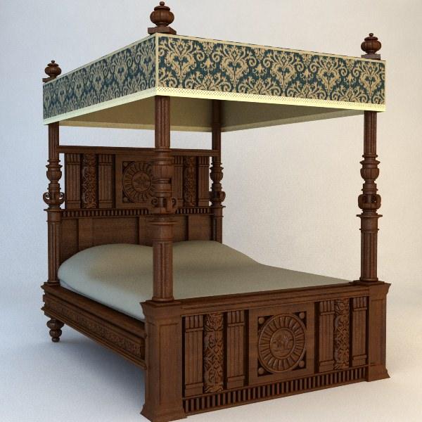 antique canopy bed 3d model max obj 3ds fbx