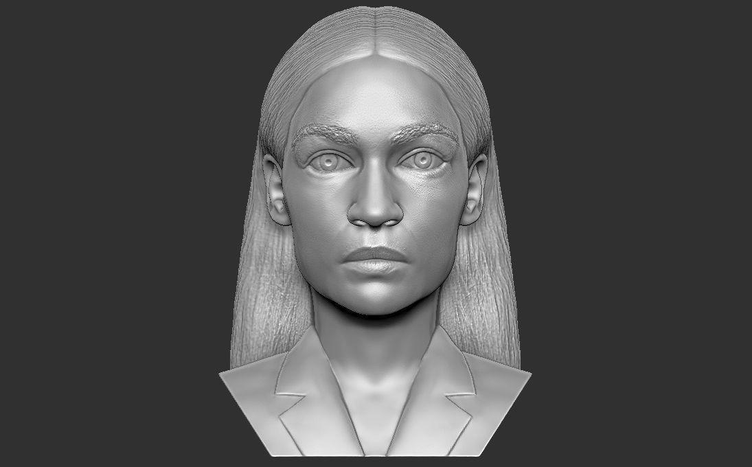 Alexandria Ocasio-Cortez bust 3D printing ready stl obj formats