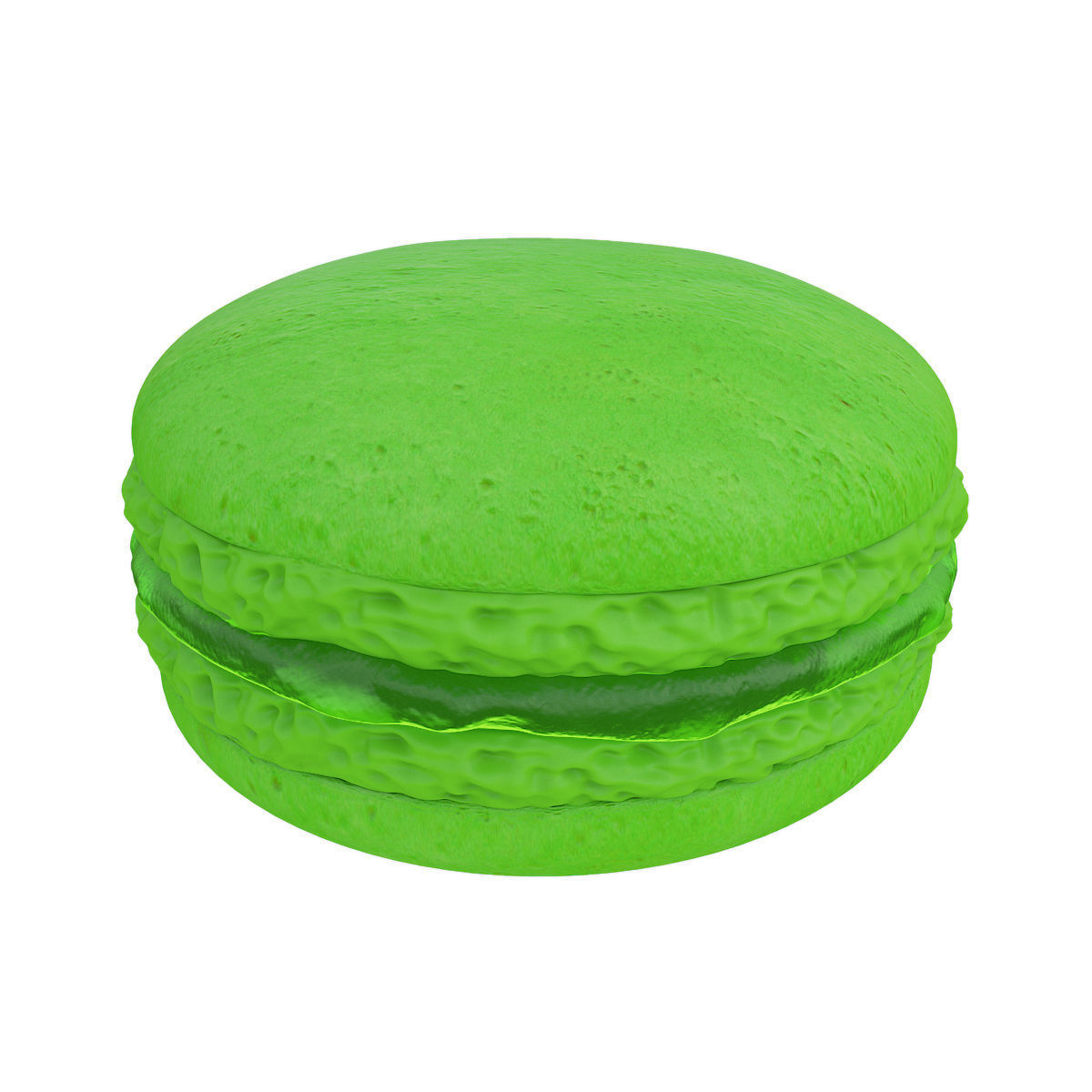 Green macaroon with jam