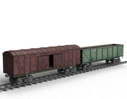 Railroad car on rails 3D model