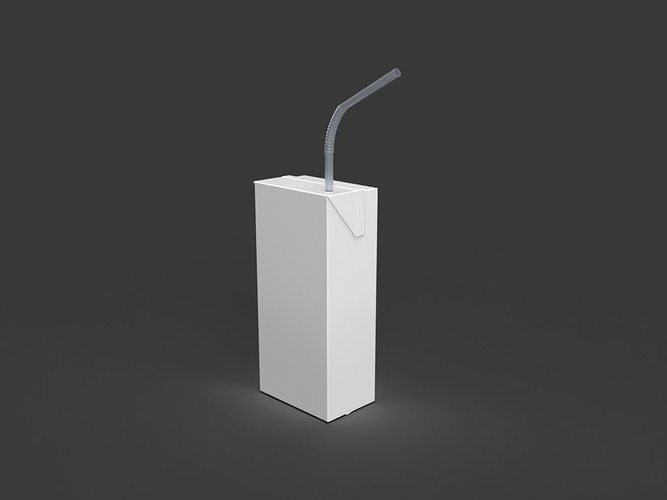 Kawaii Juice Box  with Straw Shaker  STL File For 3-D Printing File Only Not the Pieces