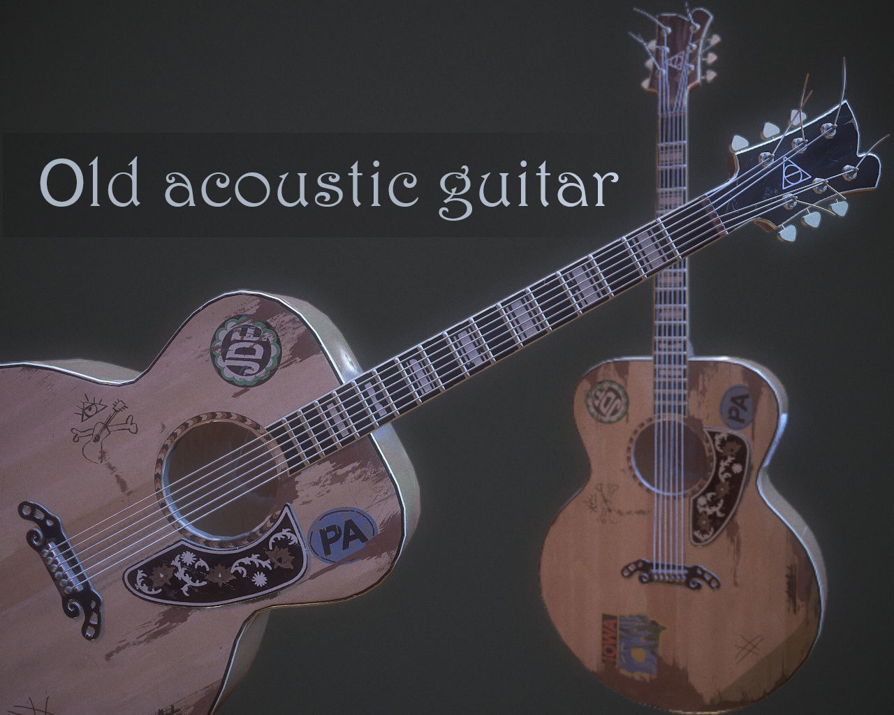 Old acoustic guitar pbr