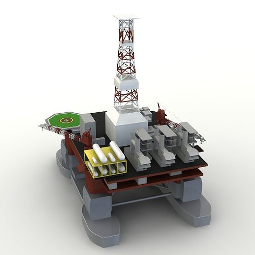 offshore oil platform 3d model 3ds 1