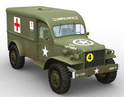 3d model wc 54 military ambulance