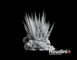 3d asset animated houdini - shrapnel explosion game-ready