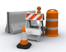 traffic barriers 3d