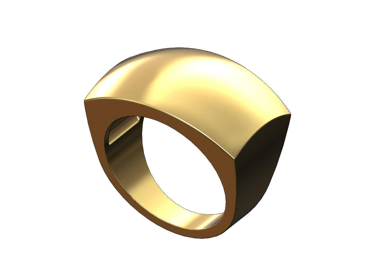 Large rectangular statement dome signet ring