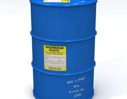 hazardous 55 gallon drum 3d asset