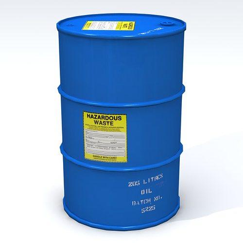 hazardous 55 gallon drum 3d model low-poly obj mtl 3ds fbx lwo lw lws blend 1