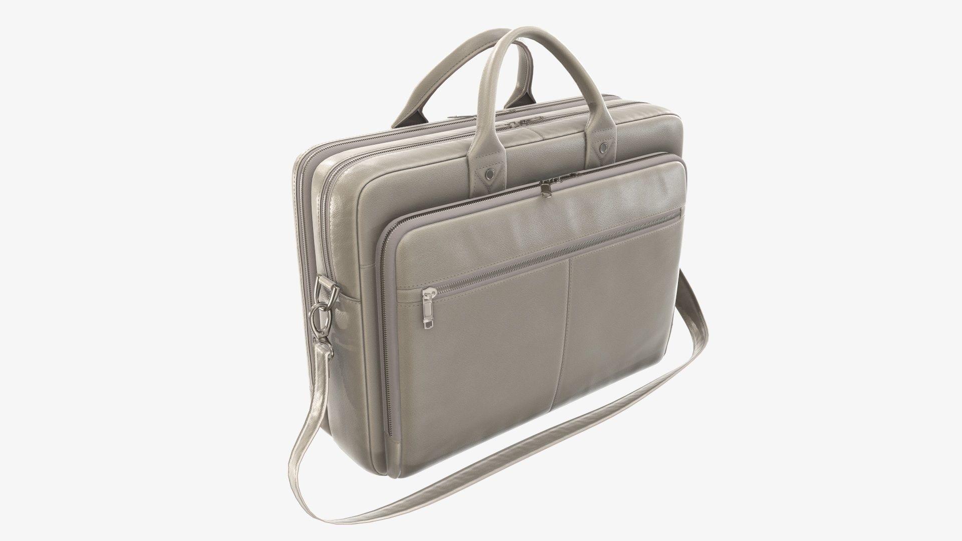 Leather laptop briefcase shoulder bag travel handbag 02