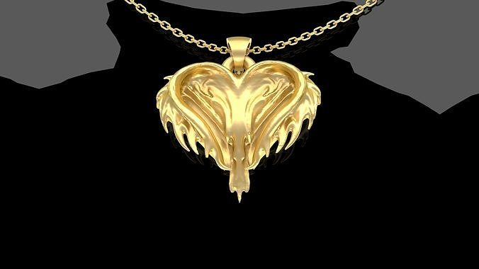 Chaotic Heart Pendant jewelry Gold
