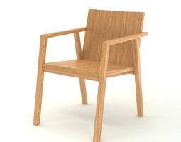 Contemporary Wooden Armchair 3D Model