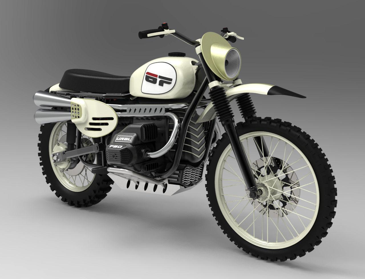 Ural Enduro Motorcycle - High detailed