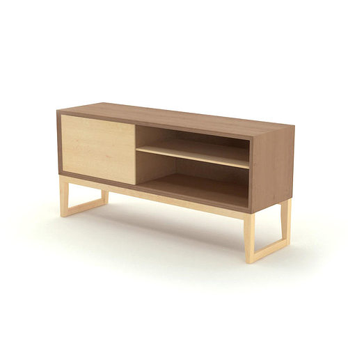Free contemporary wooden sideboard 3d cgtrader for Sideboard 3d