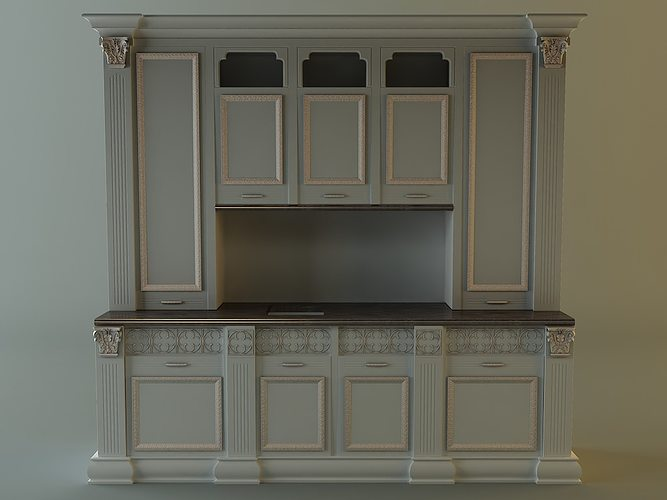 Oven 3d kitchen cabinet cgtrader for 3d kitchen cabinets