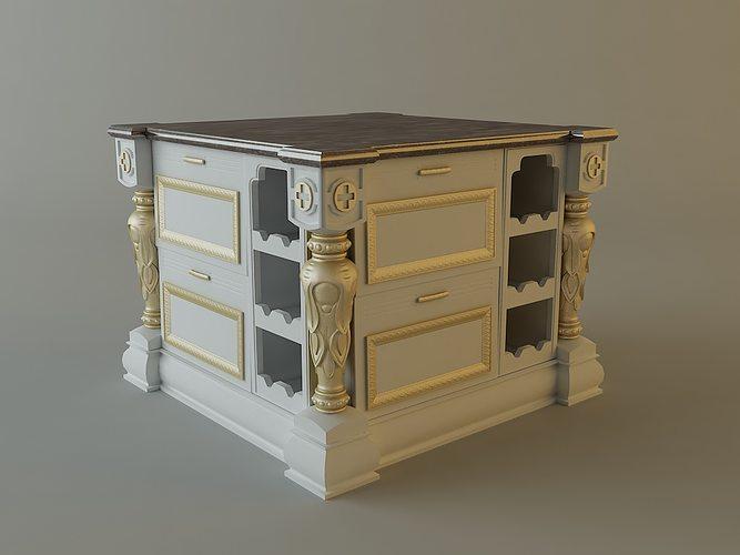 Kitchen cabinet bar 3d cgtrader for Food bar 3d model
