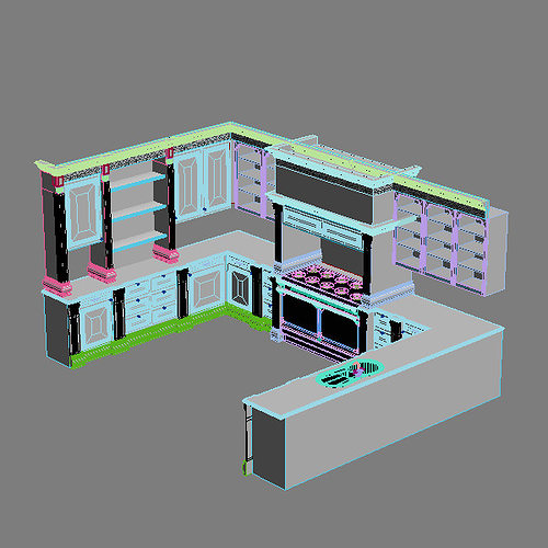Kitchen Cabinets Appliances 3d Model Max 3ds Fbx Unitypackage Prefab 12
