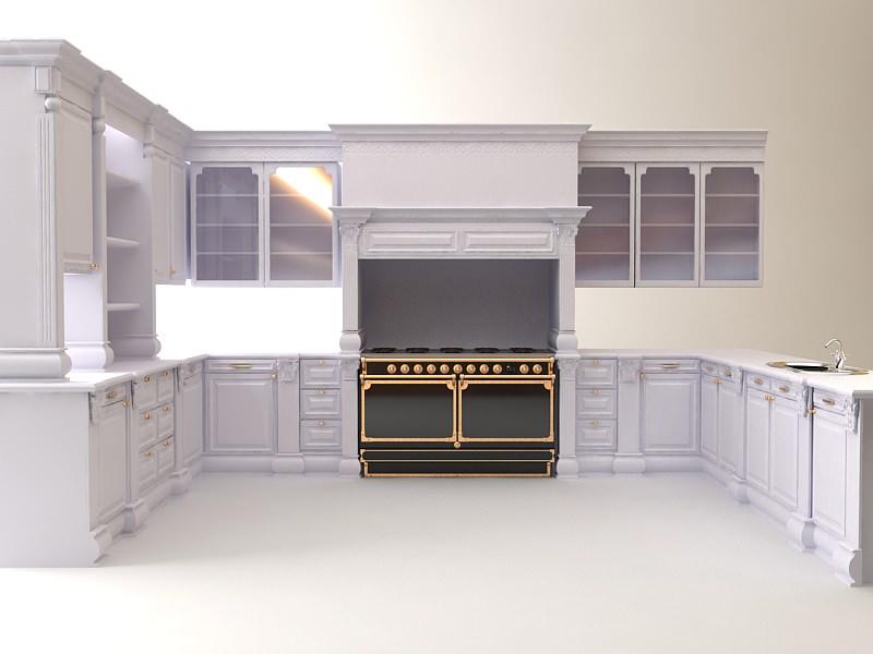 Kitchen Cabinets Appliances 3d Model Max 3ds 1