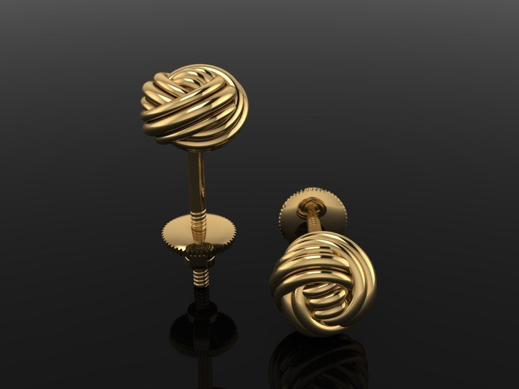 Rope Knot Ball Earring SIZE 6mm