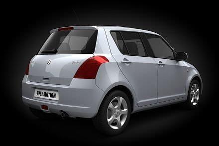white car suzuki swift 3d model obj 1
