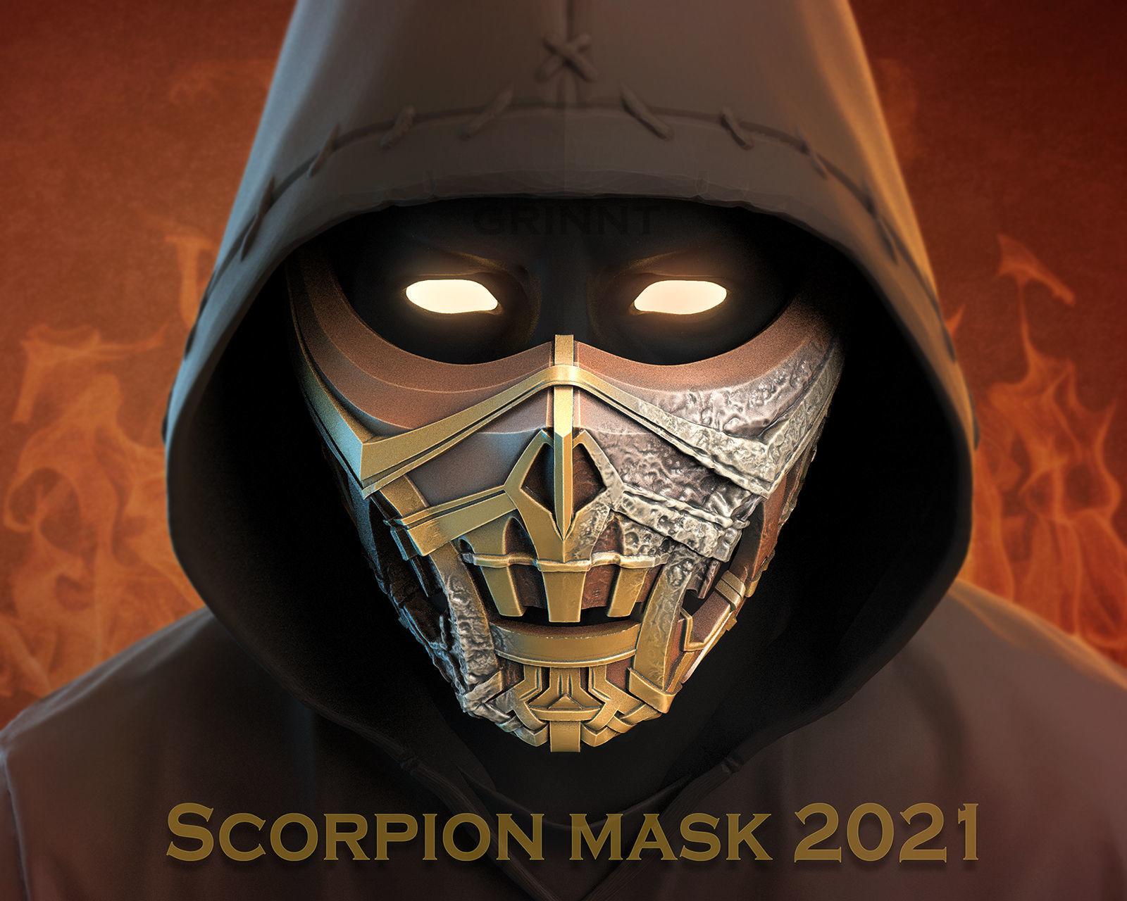 Scorpion mask for face from Mortal Kombat 2021 3D print model