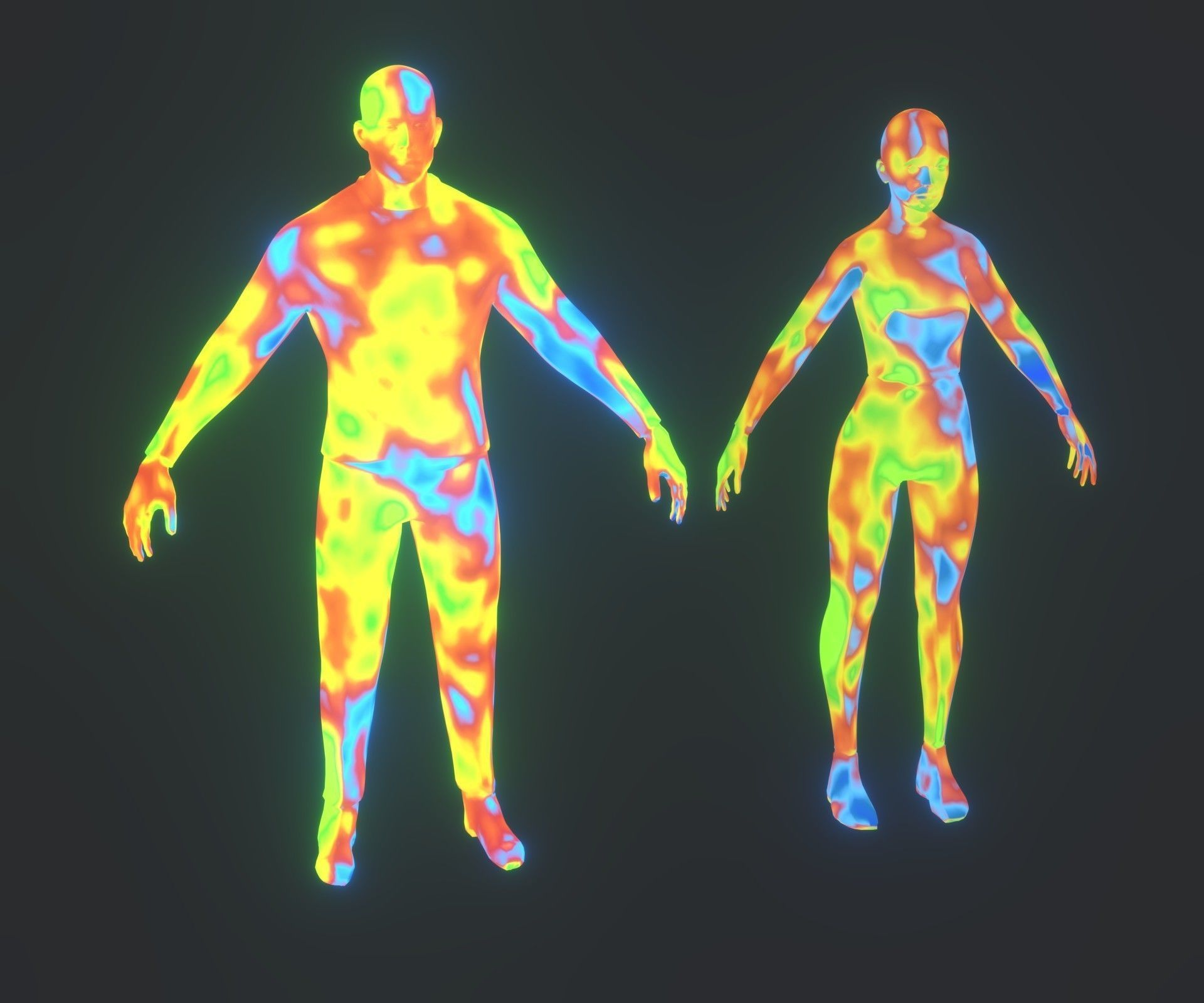 Human Body Thermal Image Heatmap 3D Model