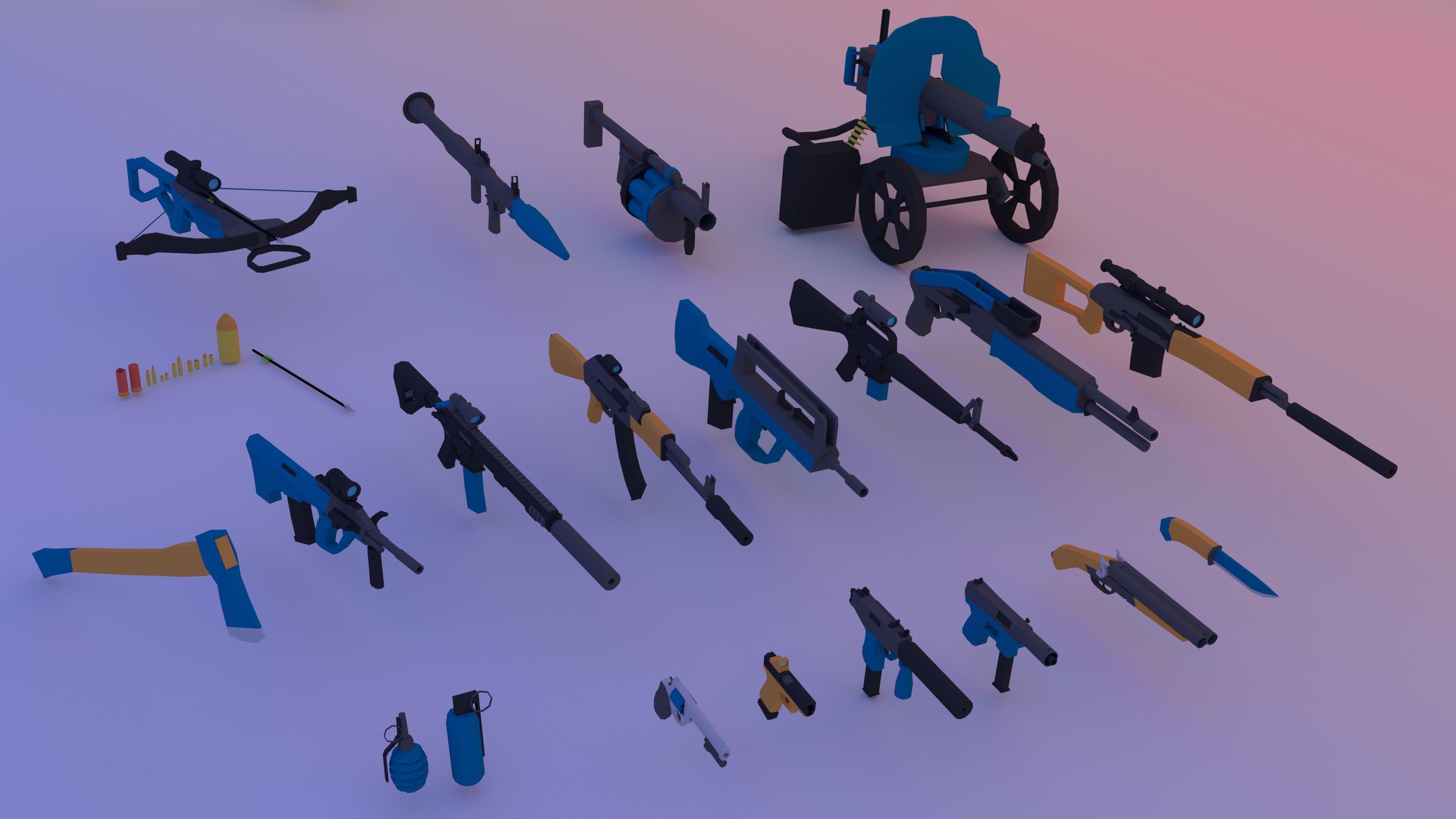 Low poly pack guns Animated - AK-47 - M16 - AR15 -UZI- 3D model