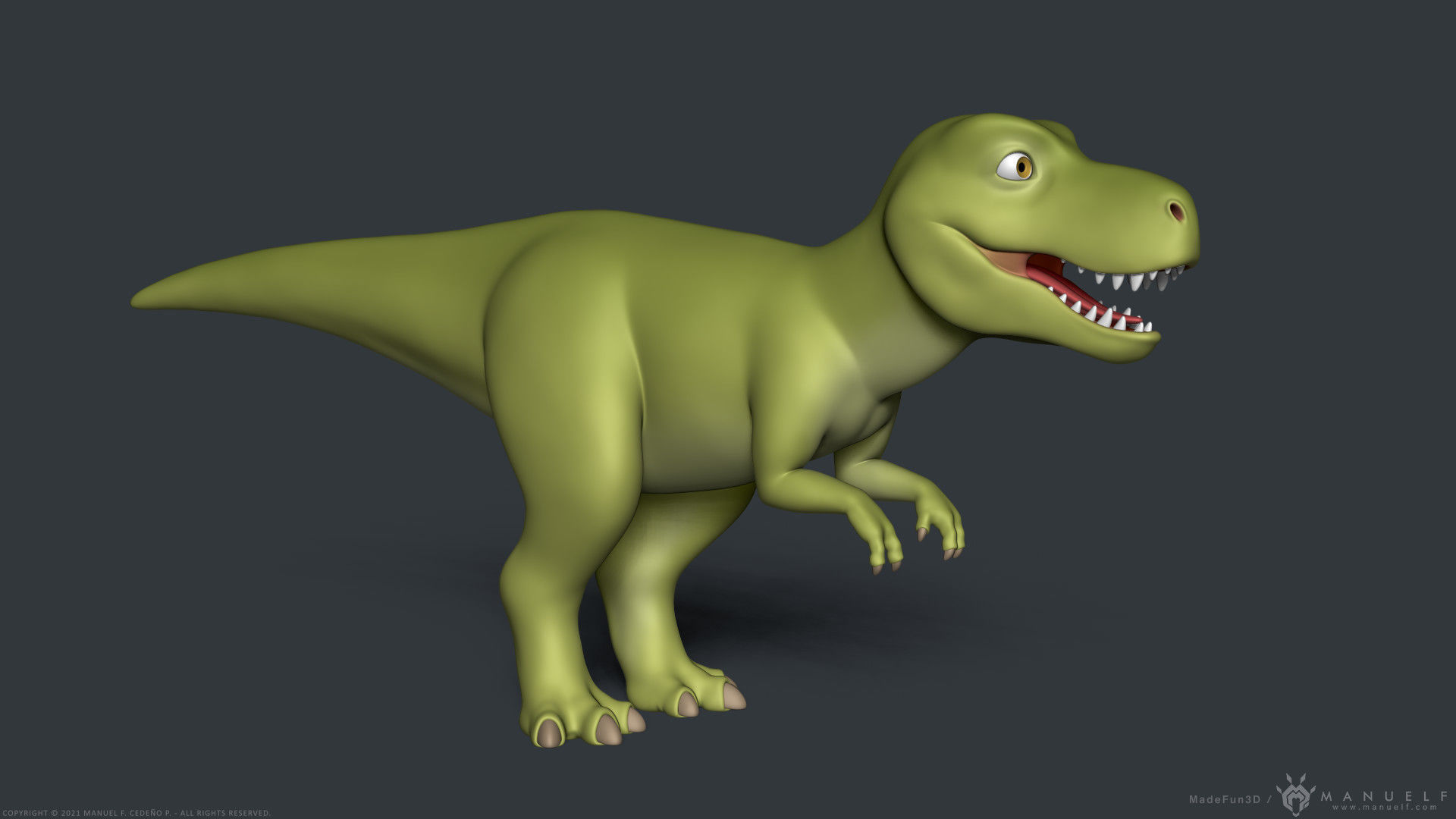 Stylized Cartoon Tyrannosaurus T-Rex Dinosaur
