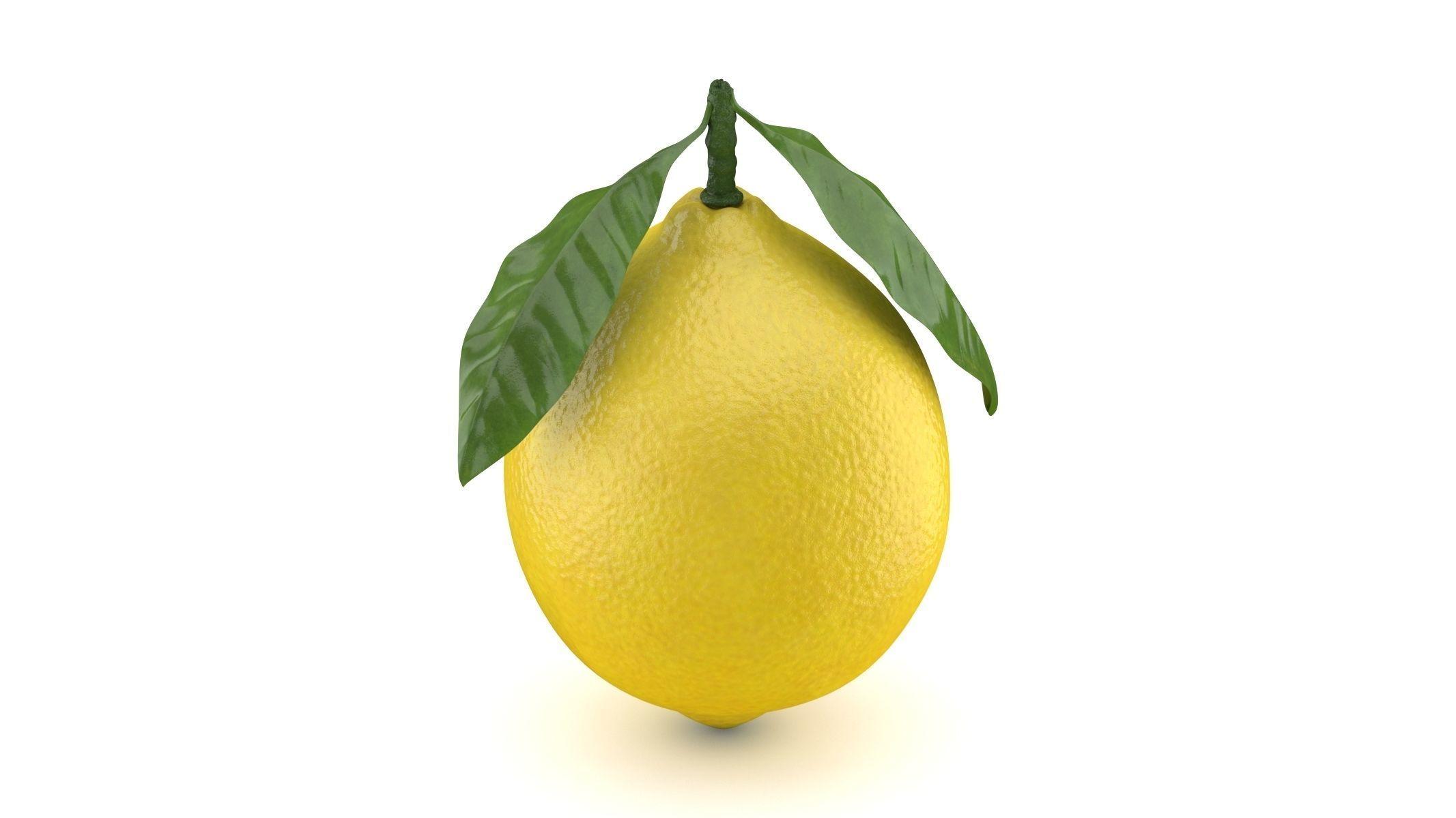 Realistic Lemon with Leaf