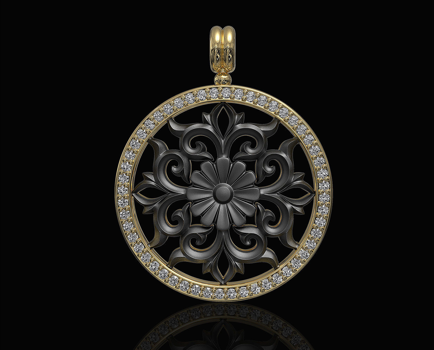 Gothic floral pendant with diamond frame