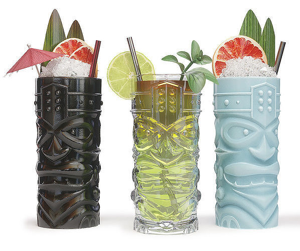 TIKI glasses with cocktails