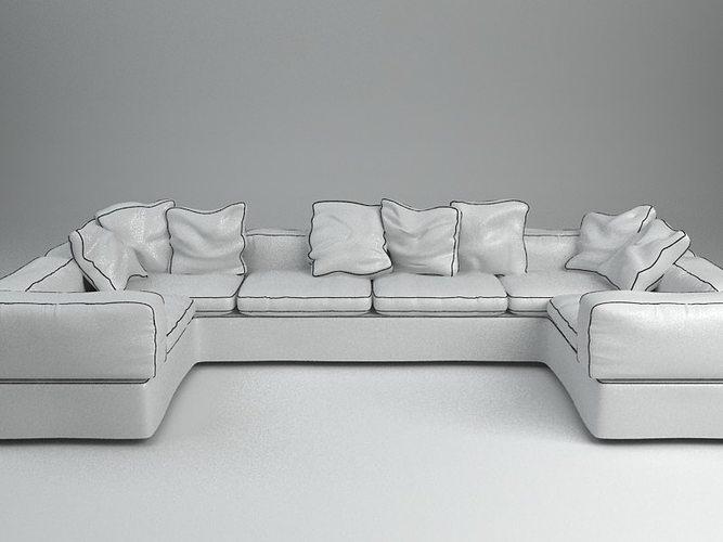 White Corner Sofa Model Max Obj Mtl S Fbx Unitypackage Prefab 2